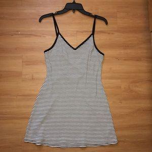 black and white striped open cross back sun dress